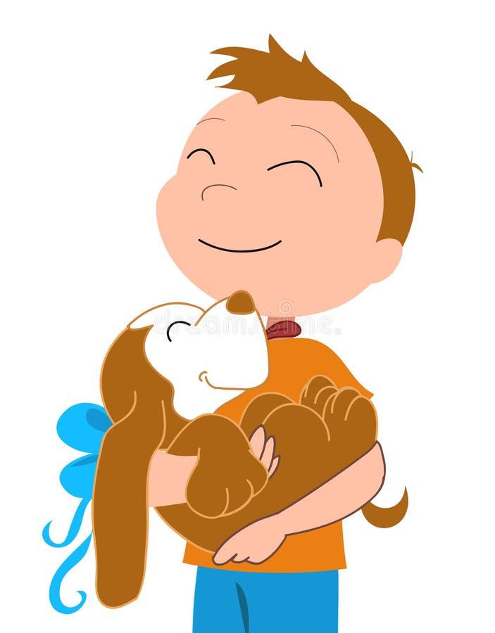 Gelukkige jongen met een hond-vectorial illustratie royalty-vrije illustratie