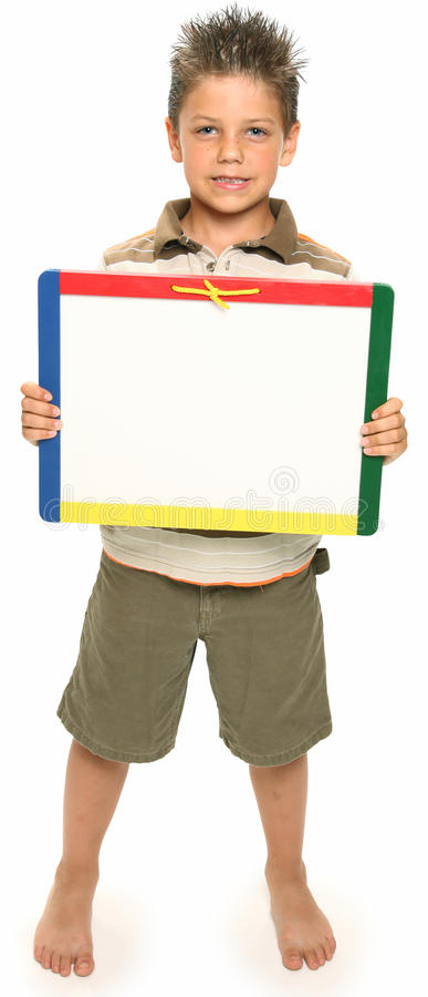 Gelukkige Jongen met Whiteboard stock fotografie