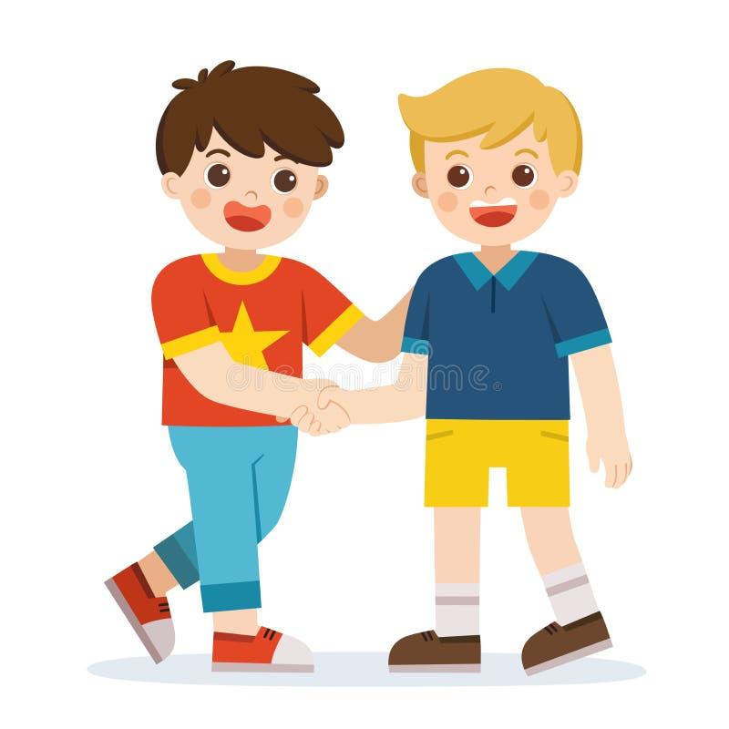 Gelukkige jongens die zich en handen bevinden schudden die vrede maken Gelukkige jonge geitjes beste vrienden stock illustratie