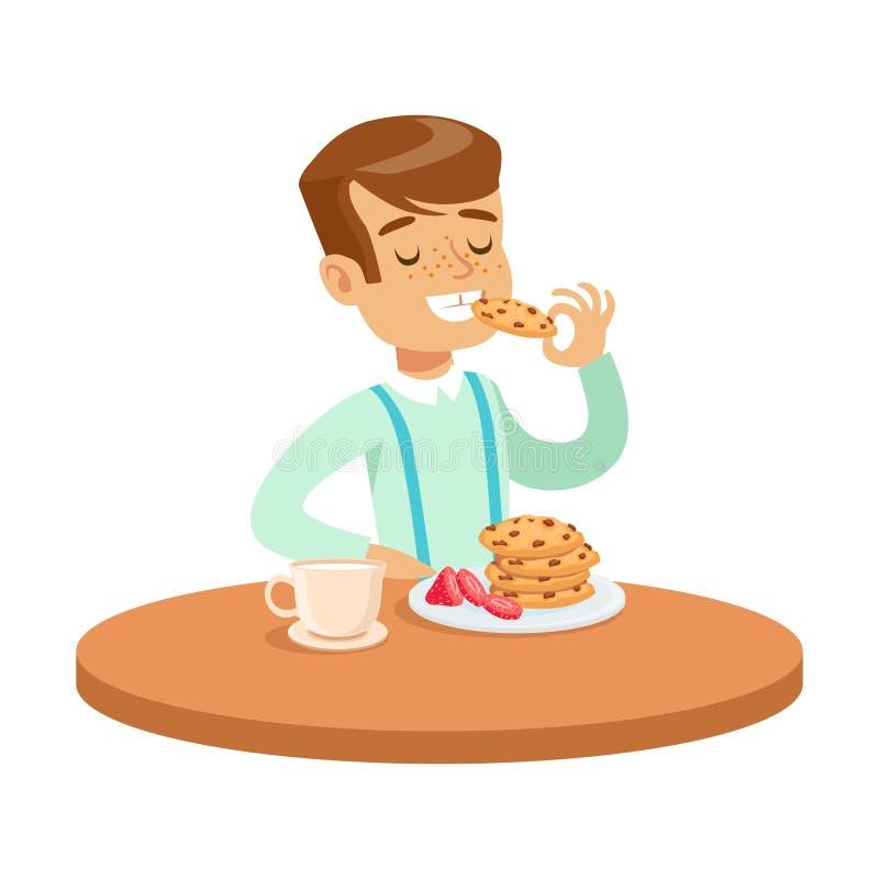 Gelukkige jongenszitting bij de lijst en het eten van koekjes, kleurrijke karakter vectorillustratie vector illustratie