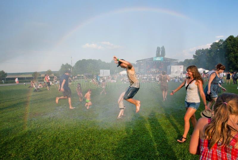 Gelukkige jongeren die in de regen op de openluchtpartij springen stock foto's