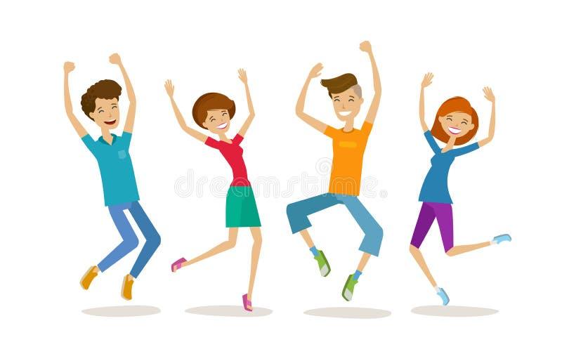 Gelukkige jongeren, tieners Partying, beeldverhaal vectorillustratie stock illustratie