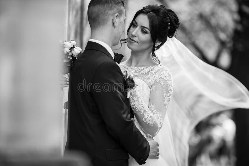 Gelukkige jonggehuwde donkerbruine bruid die knappe bruidegom koesteren dichtbij oude wa royalty-vrije stock foto's