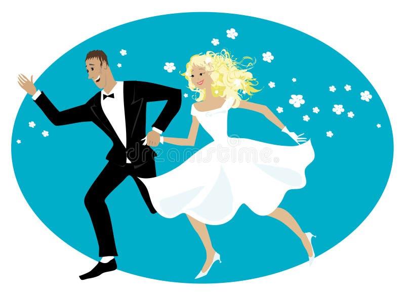Gelukkige jonggehuwden vector illustratie