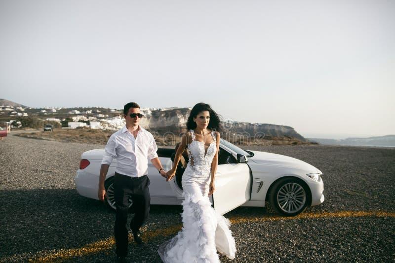 Gelukkige jonggehuwden dichtbij de auto royalty-vrije stock afbeelding