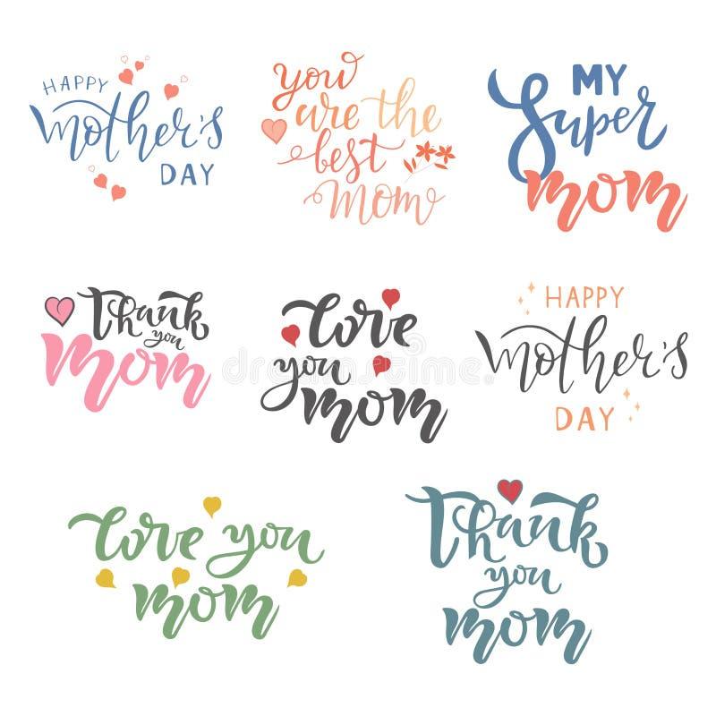 Gelukkige kalligrafische het citaatreeks van de Moedersdag Typografie het van letters voorzien Inzameling voor groetkaart, affich royalty-vrije illustratie