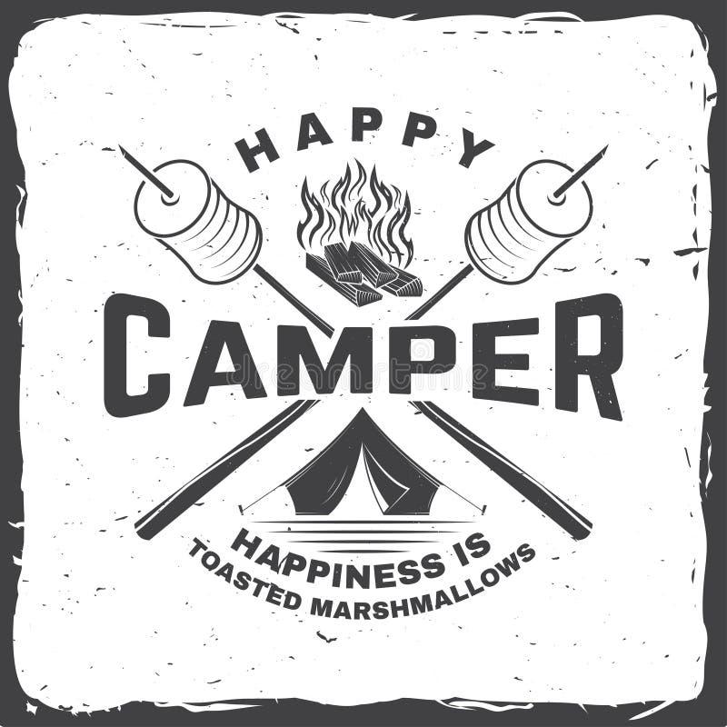 Gelukkige kampeerauto Het geluk is geroosterde heemst Vector illustratie Uitstekend typografieontwerp met het kamperen tent royalty-vrije illustratie