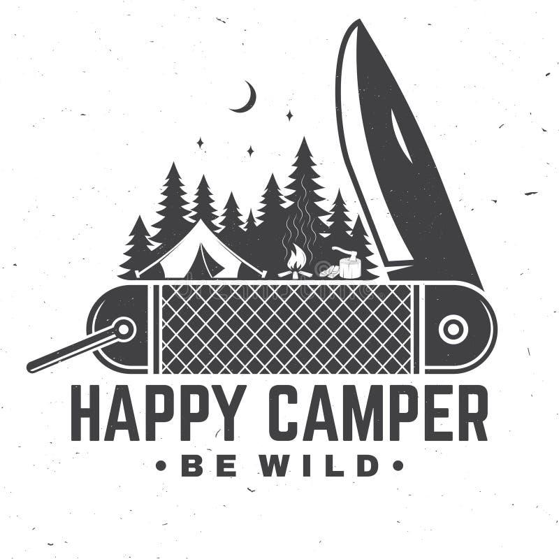 Gelukkige kampeerauto Wild ben Vector illustratie Concept voor overhemd of kenteken, bekleding, druk, zegel of T-stuk stock illustratie