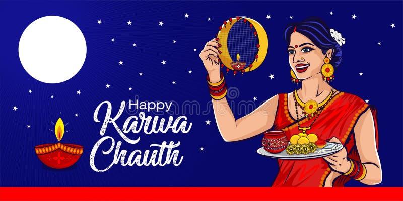 Happy karwa chauth indiaans festival vector illustratie
