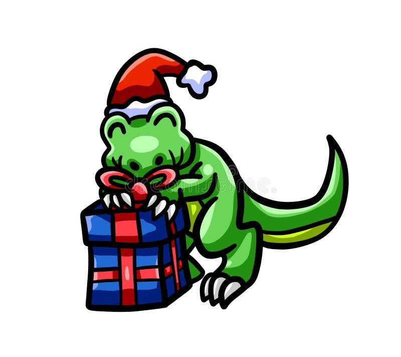 Gelukkige Kerstmis T Rex Holding His Gift vector illustratie