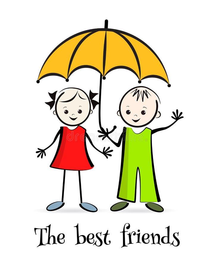 Gelukkige kinderen De beste vrienden vector illustratie