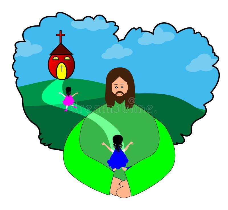 Gelukkige kinderen die naar kerk gaan vector illustratie