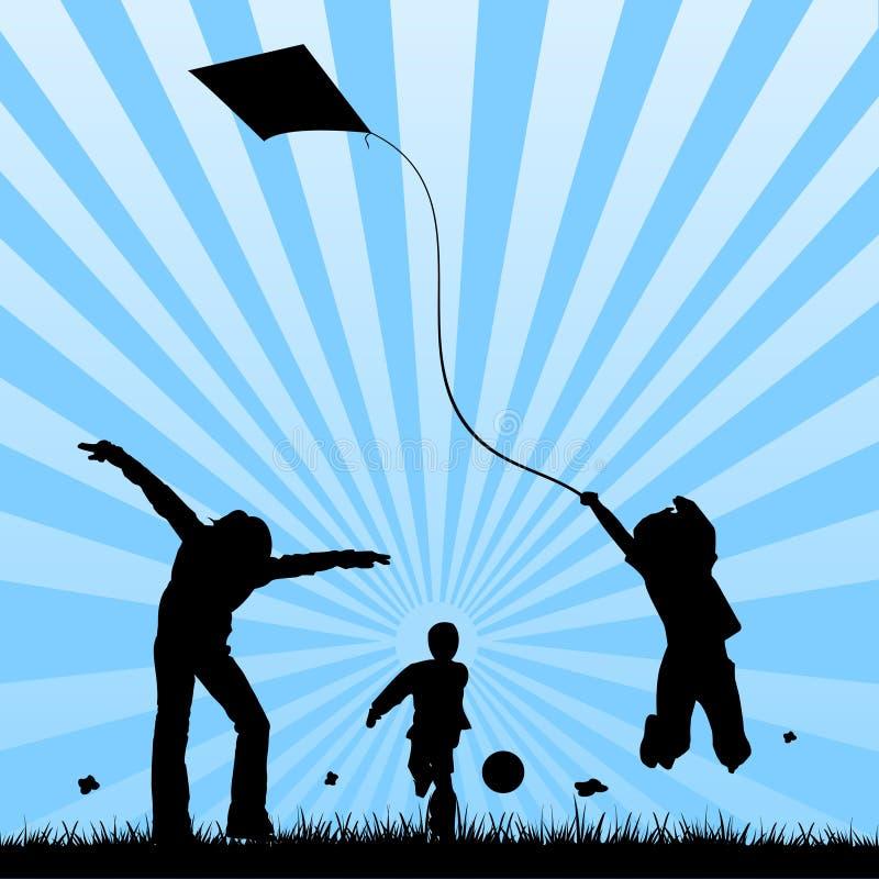 Gelukkige kinderen die op een gebied spelen royalty-vrije illustratie