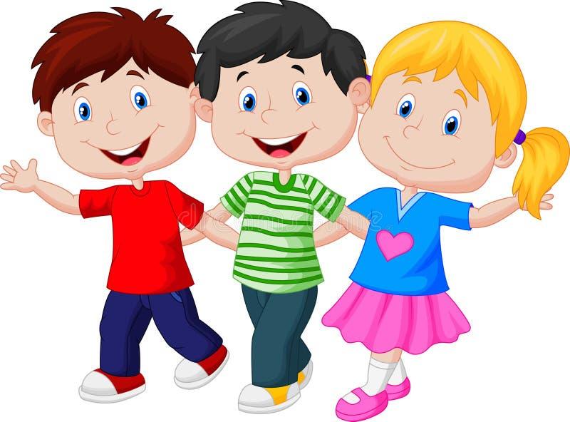 Gelukkige kinderen die samen lopen stock illustratie