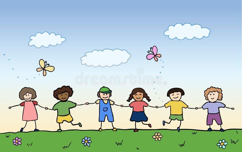 Gelukkige kinderen die voor handen op gebied houden stock illustratie