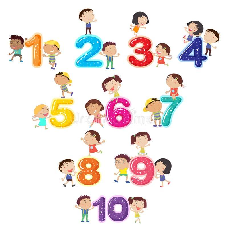 Gelukkige kinderen en aantallen royalty-vrije illustratie