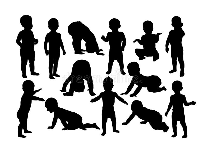 Gelukkige Kinderen en Jong geitjeactiviteitensilhouetten royalty-vrije illustratie