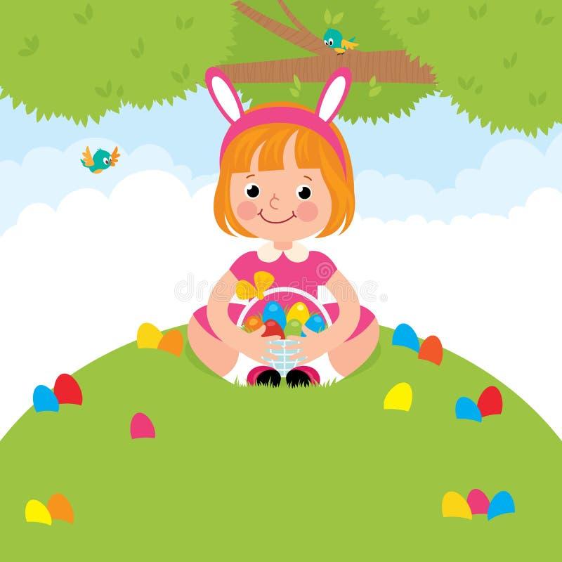 Gelukkige kinderen in konijnkostuum voor Pasen-vakantie vector illustratie