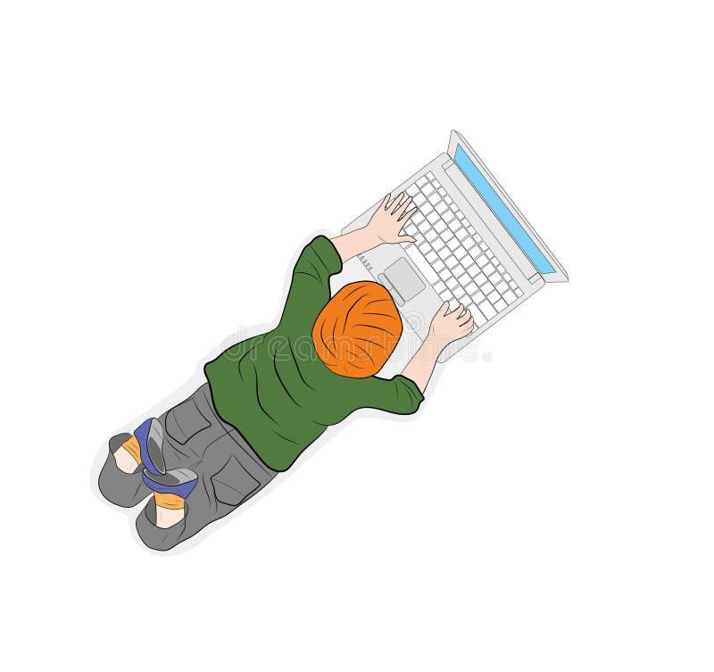 Gelukkige kinderen Mening van hierboven de kindwerken met een computer Vector illustratie royalty-vrije illustratie