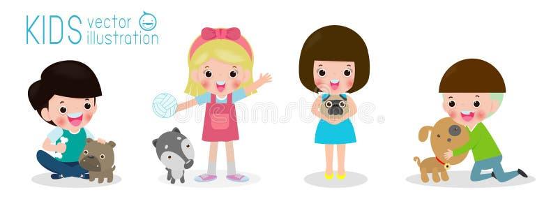 Gelukkige kinderen met een hond, reeks van jonge geitjes en hond, jongen en meisje met puppy, beeldverhaalstijl, die op witte vec royalty-vrije illustratie