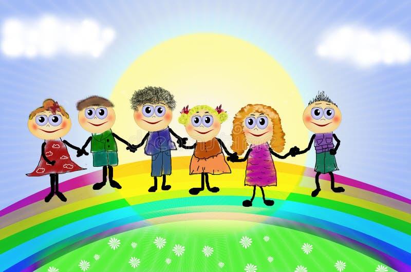 Gelukkige kinderen met regenboog vector illustratie