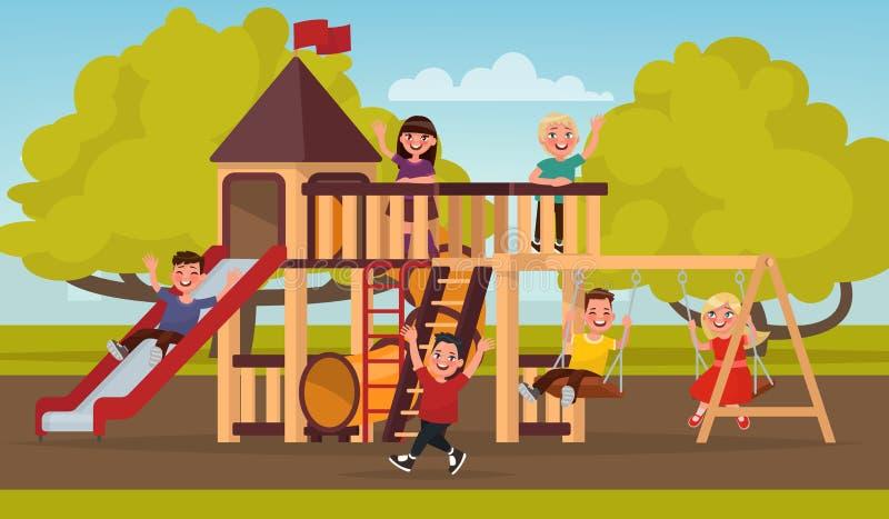 Gelukkige kinderjaren De kinderen spelen op de speelplaats Vector illustr stock illustratie