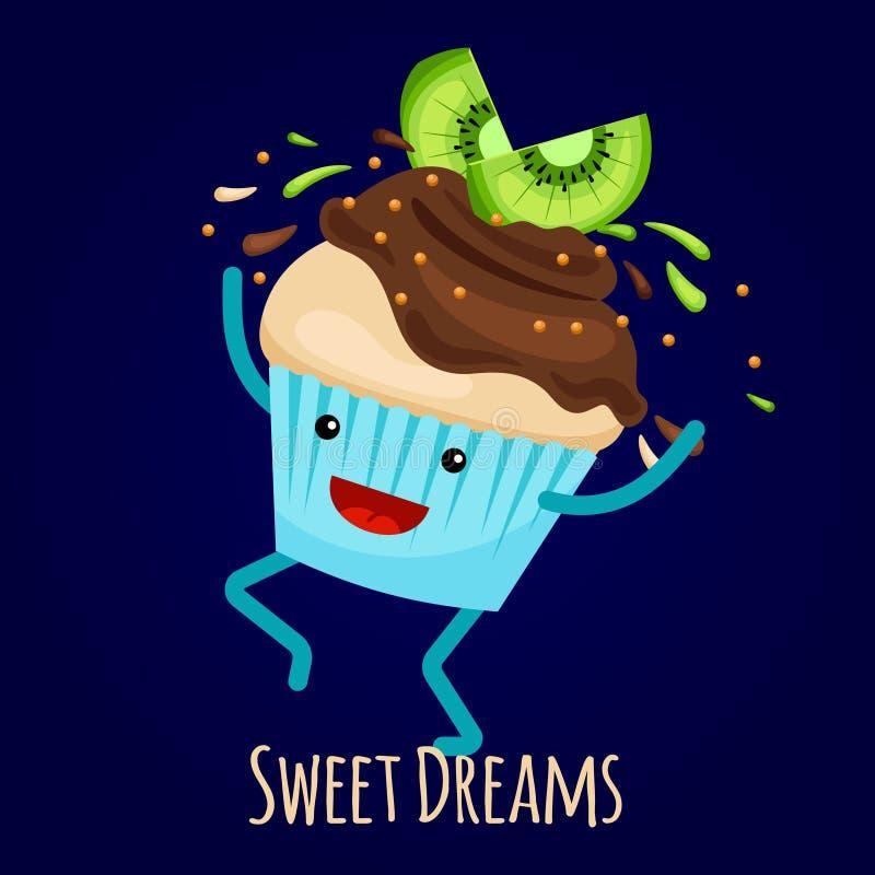 Gelukkige kiwi cupcake met chocoplonsen - het vectorontwerp van de bakkerijkaart royalty-vrije illustratie