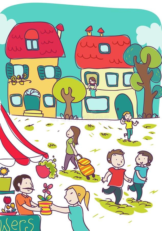 Gelukkige kleurrijke plaats in stad vector illustratie