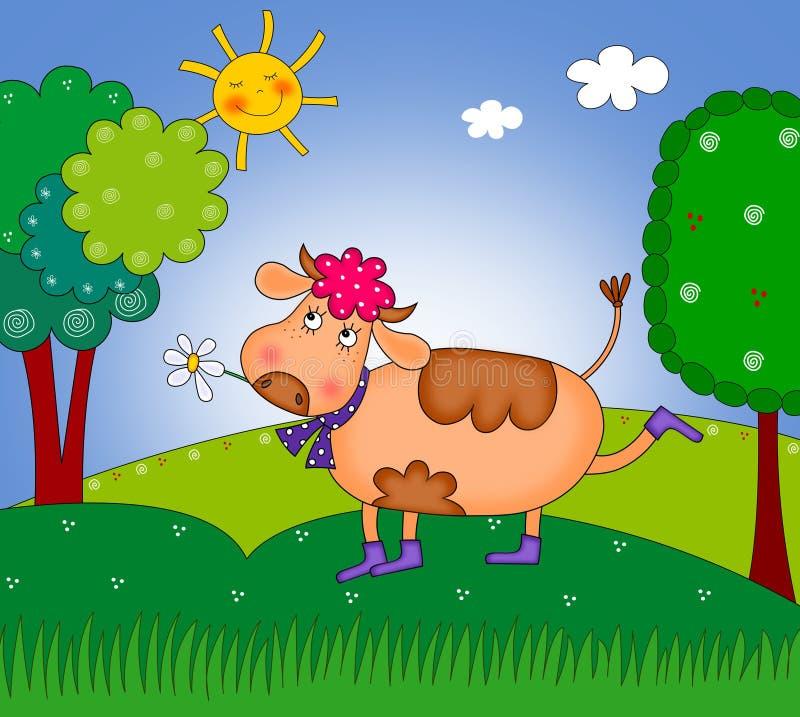 Gelukkige koe die op de weide loopt stock illustratie