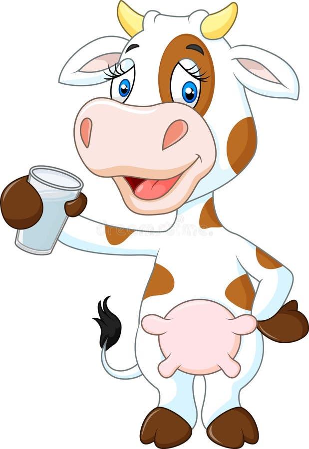 Gelukkige koe dierlijke holding een glas melk op witte achtergrond stock illustratie