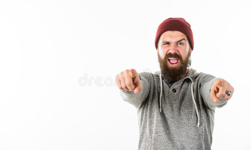 Gelukkige koele gebaarde mens in hoed brutaal mannetje met baard Herenkappersalon Kappersmanier De zorg van het haar Rijpe hipste royalty-vrije stock afbeelding