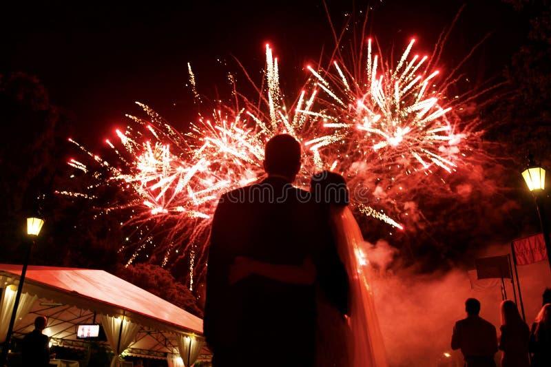 Gelukkige koesterende bruid en bruidegom die op mooie kleurrijke firewo letten royalty-vrije stock foto's