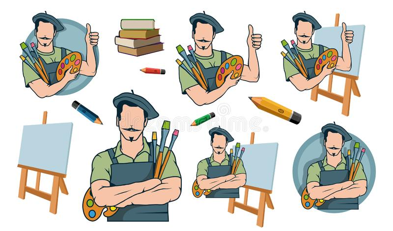 Gelukkige kunstenaarsschilder, het embleem van de kunstenaarsschilder royalty-vrije stock foto's