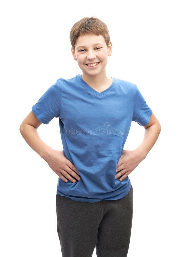 Gelukkige lachende jonge geïsoleerde jongen royalty-vrije stock fotografie