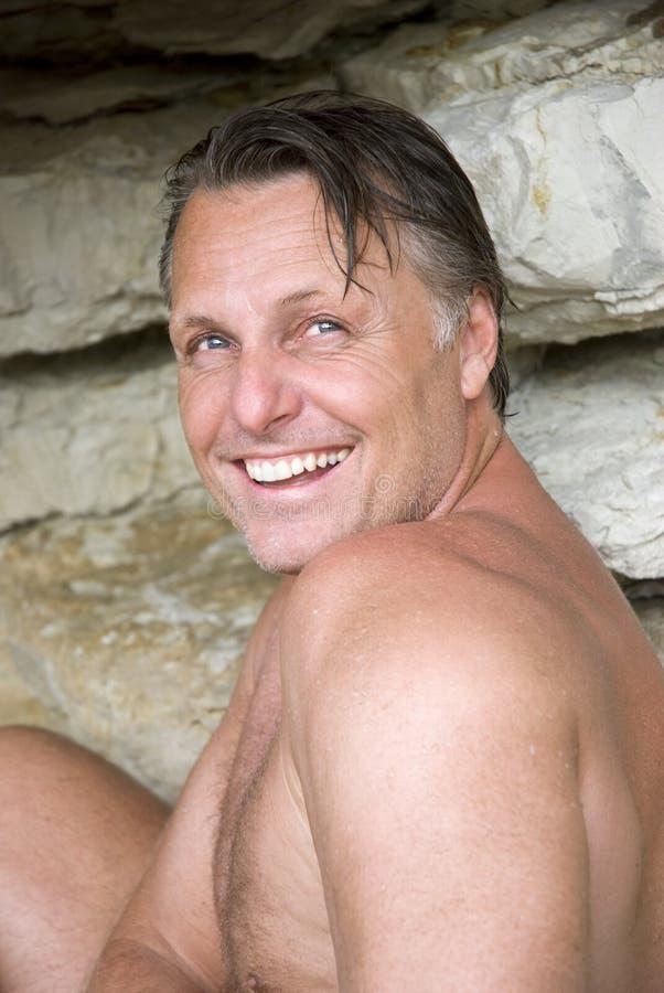 Gelukkige lachende mens royalty-vrije stock foto
