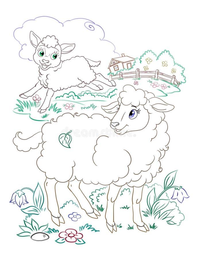 Gelukkige lam en schapen die grafische illustratie met rassenbarrièreart. kleuren royalty-vrije illustratie