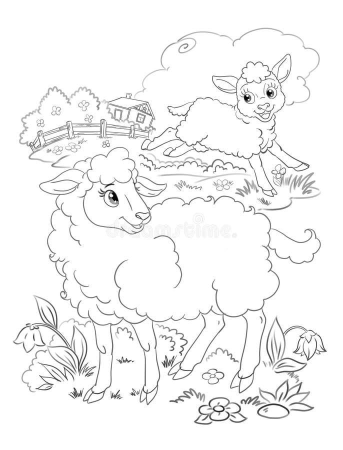 Gelukkige lam en schapenkleuring royalty-vrije illustratie