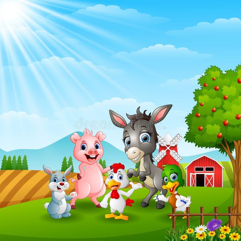 Gelukkige landbouwbedrijfdieren in daglicht royalty-vrije illustratie