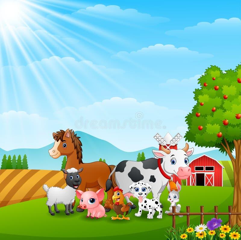 Gelukkige landbouwbedrijfdieren op daglicht vector illustratie
