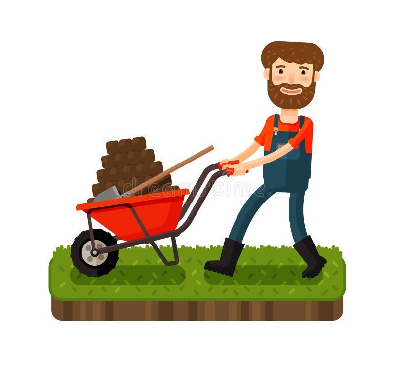 Gelukkige landbouwer die een kar met zwarte aarde duwen De vectorillustratie van het beeldverhaal vector illustratie