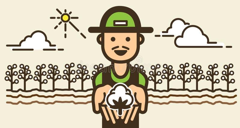 Gelukkige Landbouwer met katoenen landbouwbedrijfgebied Illustratie royalty-vrije illustratie