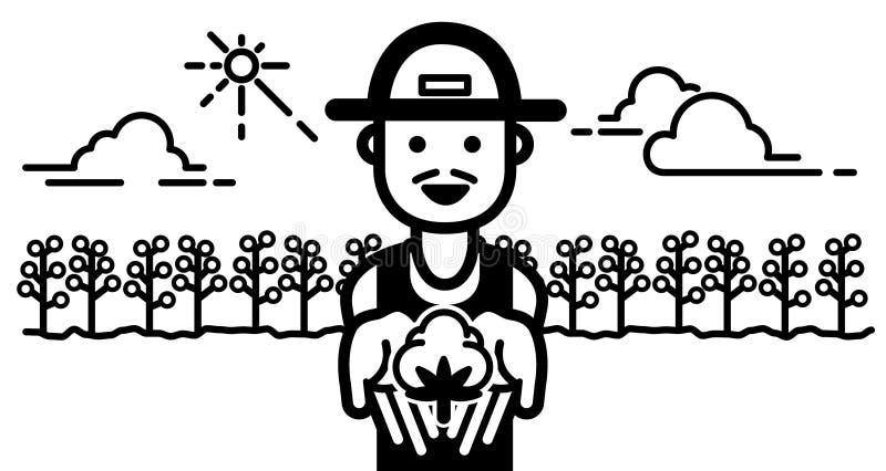 Gelukkige Landbouwer met landbouwbedrijfgebied illustratievector vector illustratie