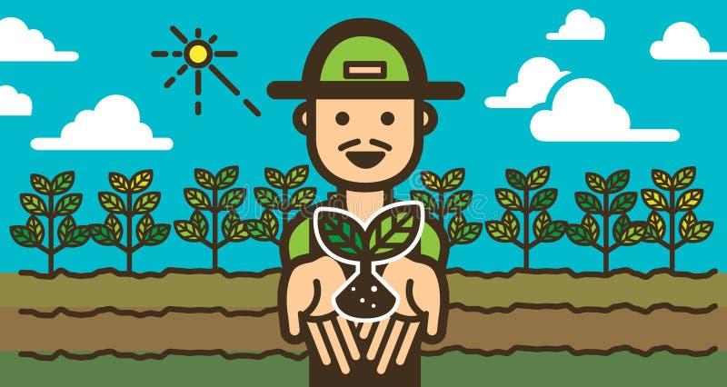 Gelukkige Landbouwer met landbouwbedrijfgebied illustratievector stock illustratie