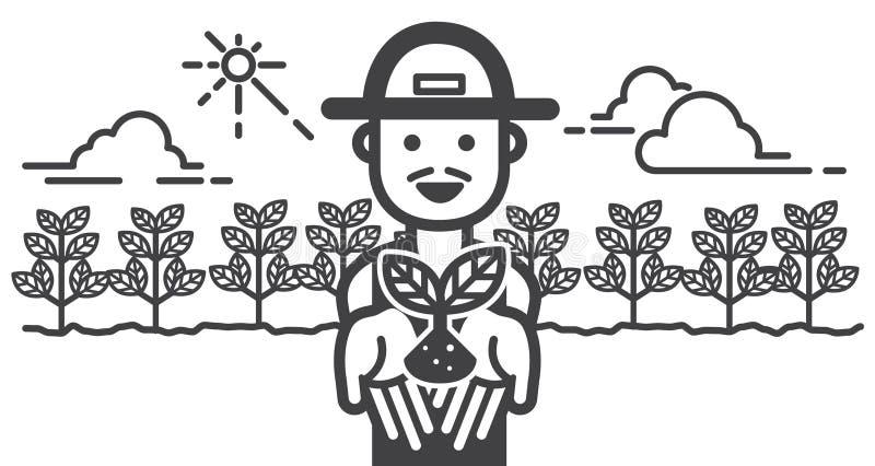 Gelukkige Landbouwer met landbouwbedrijfgebied illustratievector royalty-vrije illustratie