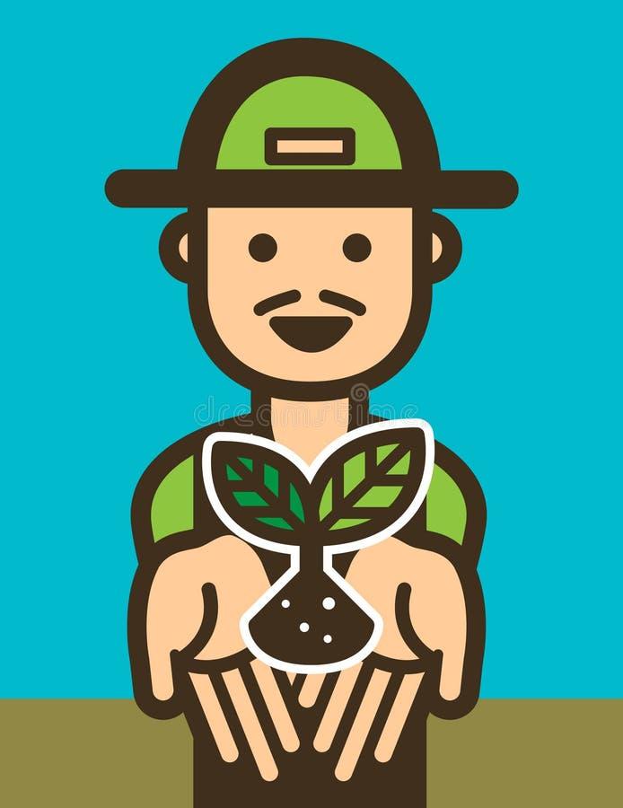 Gelukkige Landbouwerspictogrammen illustratievector royalty-vrije illustratie