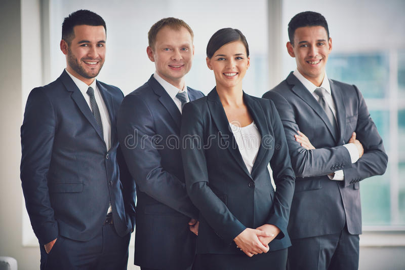 Gelukkige leiders stock foto's
