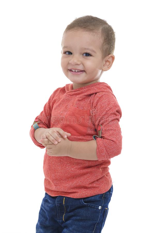 Gelukkige leuke jonge jongen stock foto