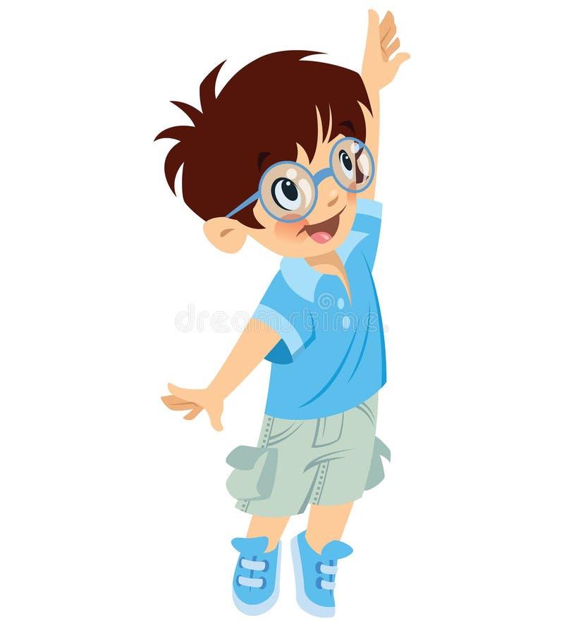 Gelukkige leuke jongensleerling met glazen die iets proberen te bereiken royalty-vrije illustratie