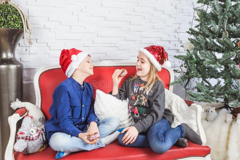 Gelukkige leuke kleine jonge geitjes die in Kerstmanhoeden heerlijke koekjes thuis eten stock fotografie