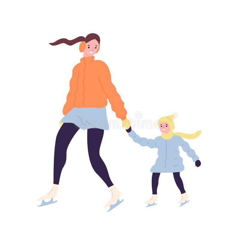 Gelukkige leuke mamma en dochter op schaatsen Glimlachend moeder en kind die in bovenkledingsijs op piste schaatsen de winter ope royalty-vrije illustratie